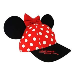 Disney Minnie Mouse Polka Dot Ears Bow Cap Hat
